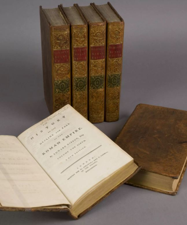 George Washington amassed a significant library of books over his lifetime, including Edward Gibbon's History of the Decline and Fall of the Roman Empire.  Courtesy of Mount Vernon.