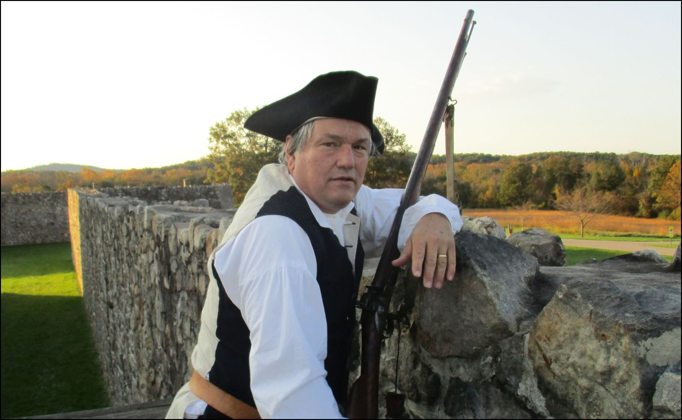 American Heritage editor Edwin Grosvenor stands guard at Fort Frederick. He was pleased to report that not a single attack was recorded that weekend from French and Indian intruders.