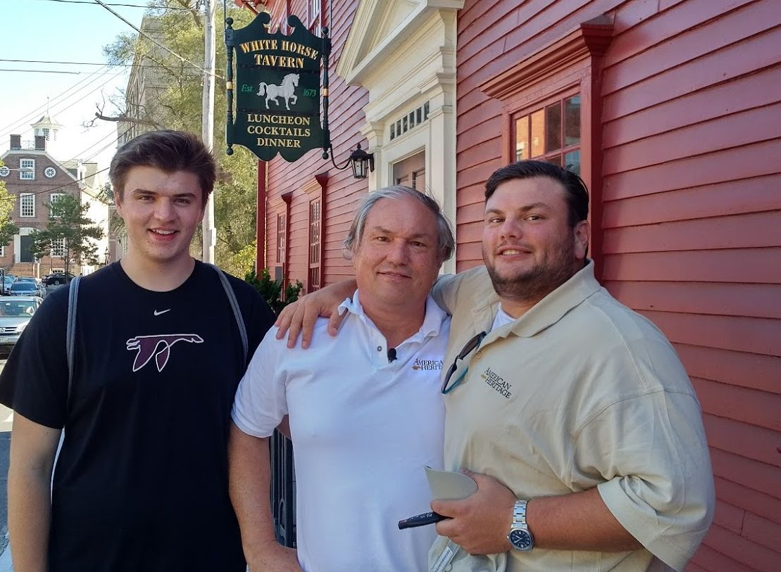 American Heritage editor Edwin Grosvenor and his two sons explore the White House Tavern in Newport, Rhode Island.