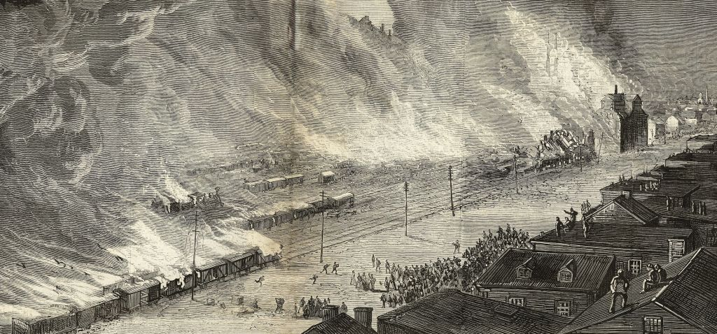 The strikers rioting in Pittsburgh burned the Union Depot and 38 other buildings.
