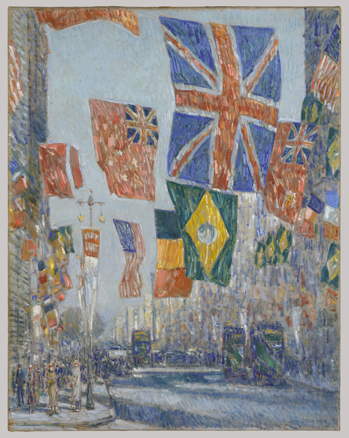 American Impressionist Child Hassam painted numerous patriotic views of New York's Fifth Avenue. Metropolitan Museum.