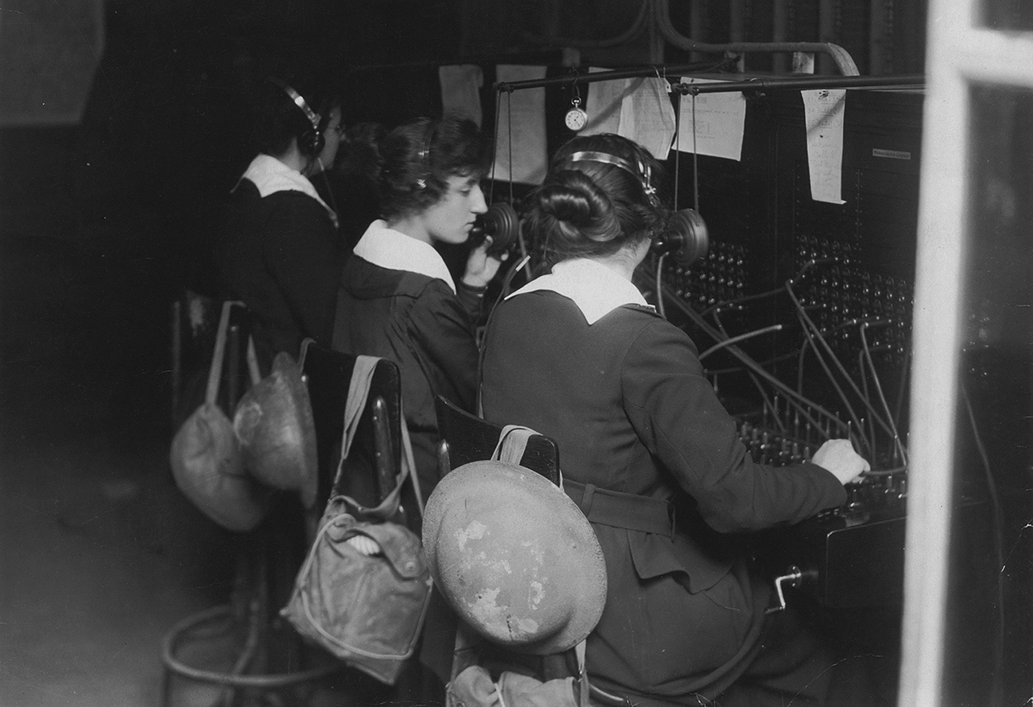 Women operated the telephone switchboards that allowed commanders to understand and control what was going on. Exchanges at forward headquarters sometimes came under artillery fire, and operators kept their gas masks close.