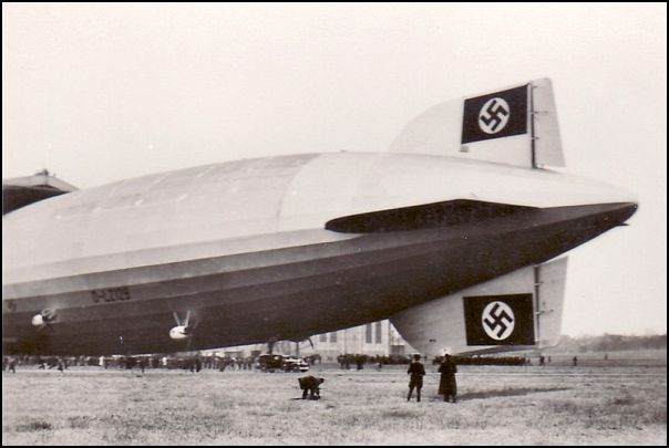 The massive Hindenberg digible displayed large swastikas on its tail.