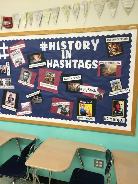 Teacher Kalena Baker suggests having elementary school students suggest hashtags relating to history.