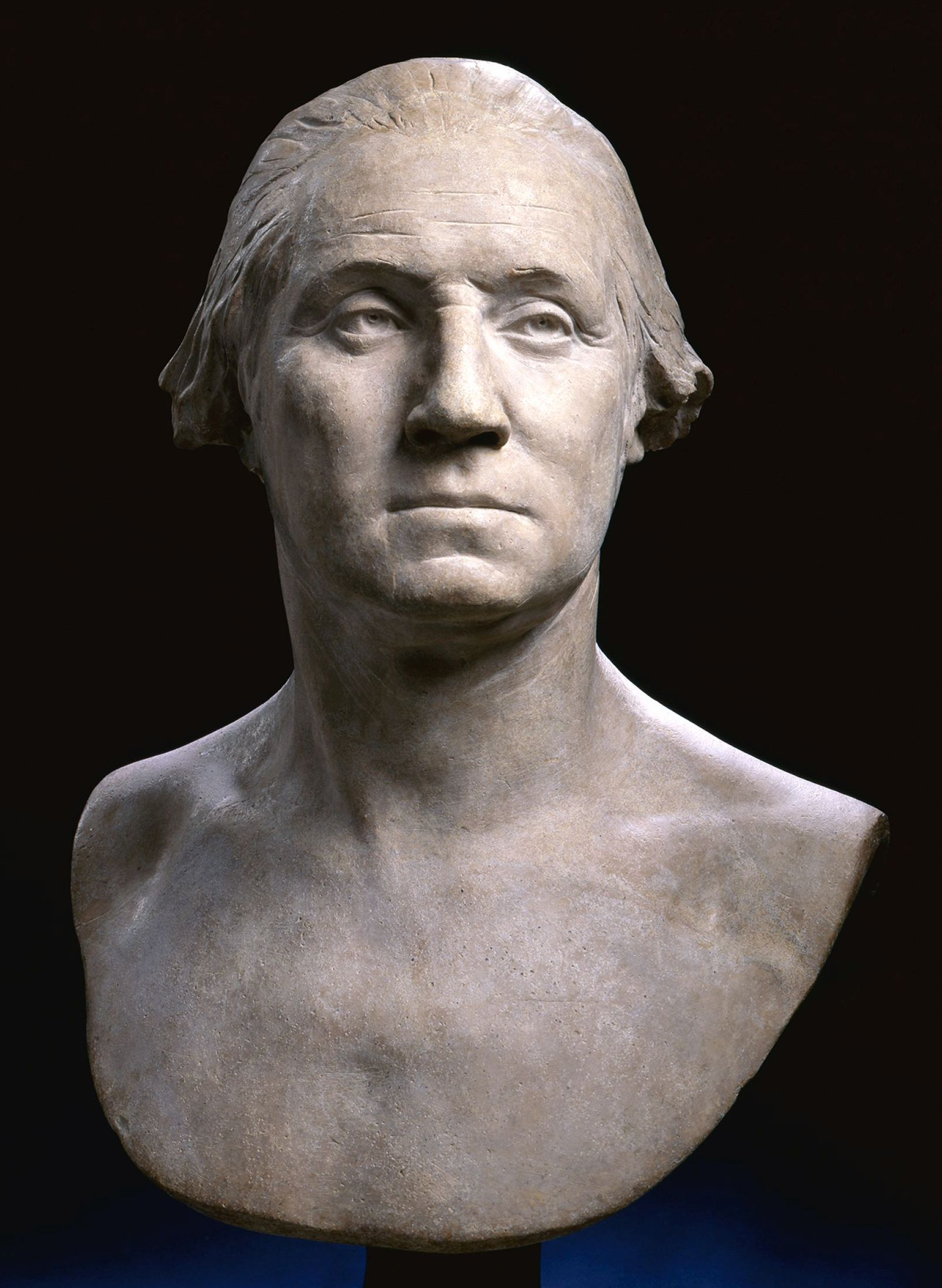 The face of the Father of his Country was captured in plaster in a life mask by the French sculptor Jean Antoine Houdon at Mount Vernon in 1785, one year after Washington resigned his commission as Commander in Chief..