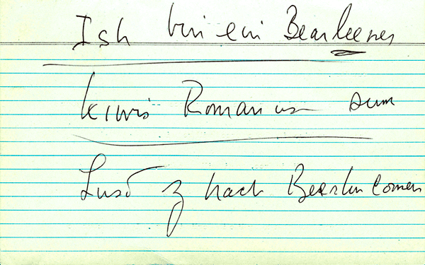John F. Kennedy's phonetic transcription of the German and Latin phrases in the Ich bin ein Berliner speech