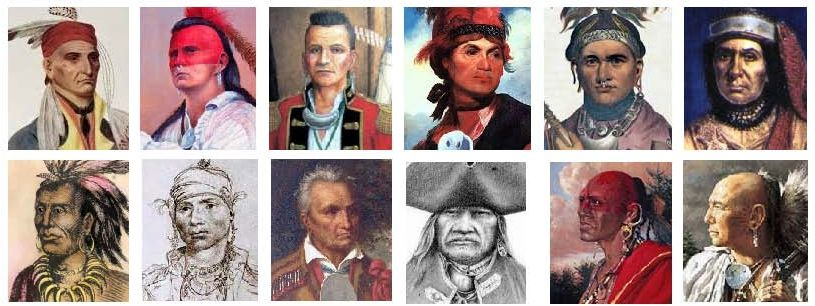 Among the Native American chiefs that Washington met with were (top row) Attakullakulla (Cherokee), Bloody Fellow (Cherokee), Blue Jacket (Shawnee), Joseph Brant (Mohowk), Cornplanter (Seneca), Guyasuta (Seneca), and (bottom row) Little Turtle (Miami), Alexander McGillivray (Creek), Red Jacket (Seneca), Scarouady (Oneida), Shingas (Delaware), and Tanaghrisson or Half King (Seneca).