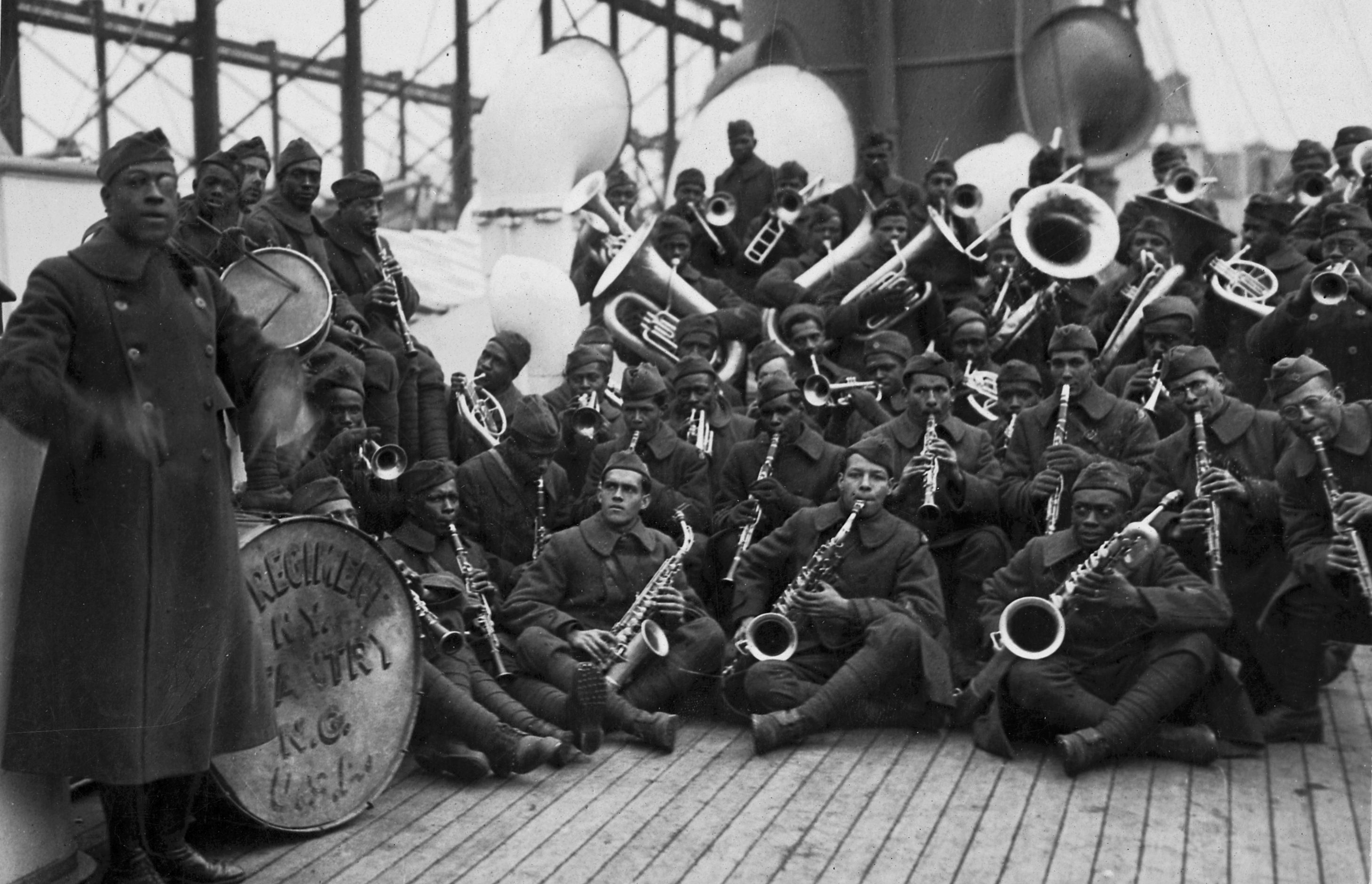 "James Europe's jazz band with the 369th Infantry Regiment (the ""Black Rattlers"") returns from Europe on the SS Stockholm. The New York regiment, composed mostly of black and Puerto Rican soldiers, was the first African-American regiment to serve in World War I. National Archives."