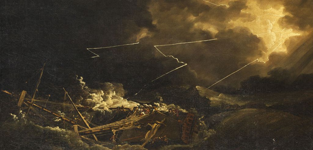 John Thomas Serres painted the dramatic wreck of the HMS Deal Castle, one of __ British ships destroyed in the Great Hurricane of 1780.