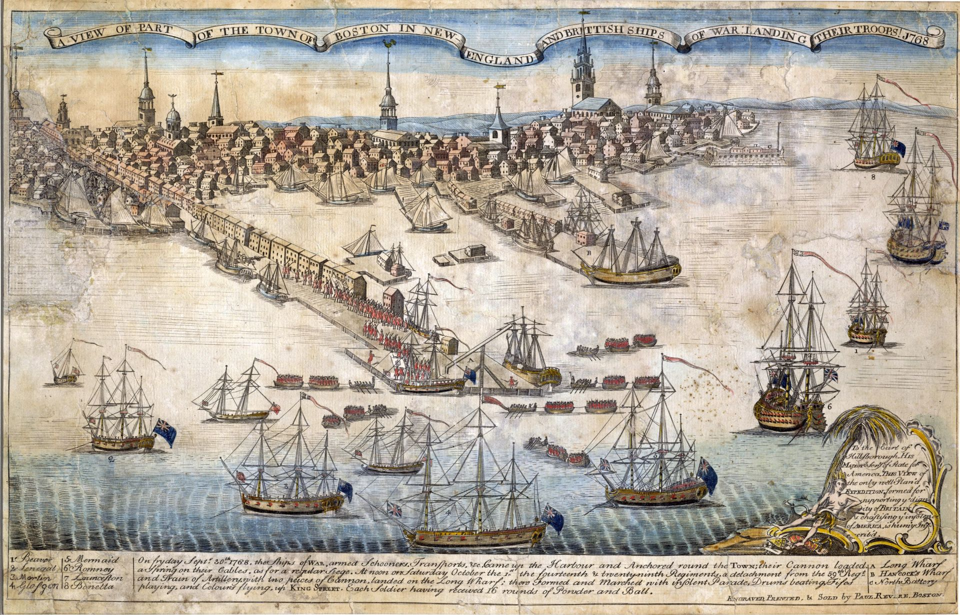 Paul Revere also published an engraving of the British troops landing in Boston harbor in 1768, a traumatic event for many inhabitants of the city.