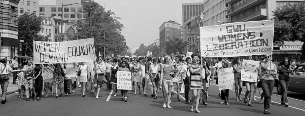 Like the reporters at Time, Inc., women across America were demanding fairer treatment. In August 1970 women marched in downtown Washington, DC. US News Collection/Library of Congress.
