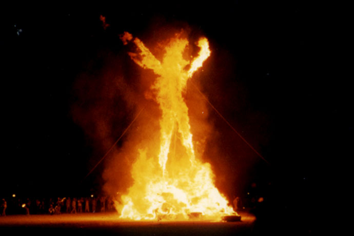 The Burning Man goes up in flames. Photo Courtesy of Wikipedia
