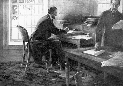 Lincoln frequently worked at the War Department with Stanton, reading and sending telegrams to generals in the field.