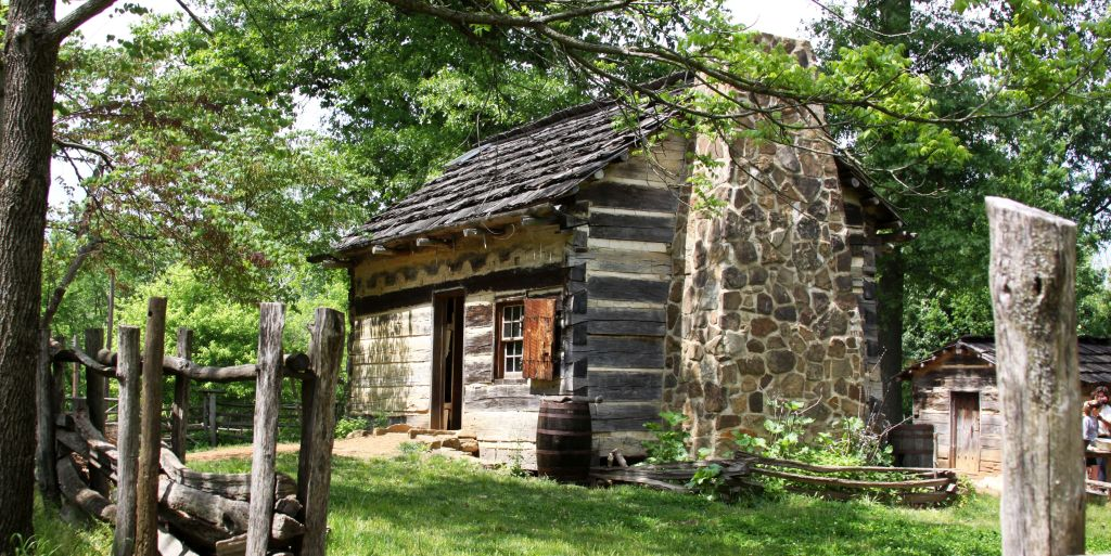 The log cabin at the Lincoln Boyhood National Memorial in on the farm site where Lincoln grew up in Spencer County, Indiana.