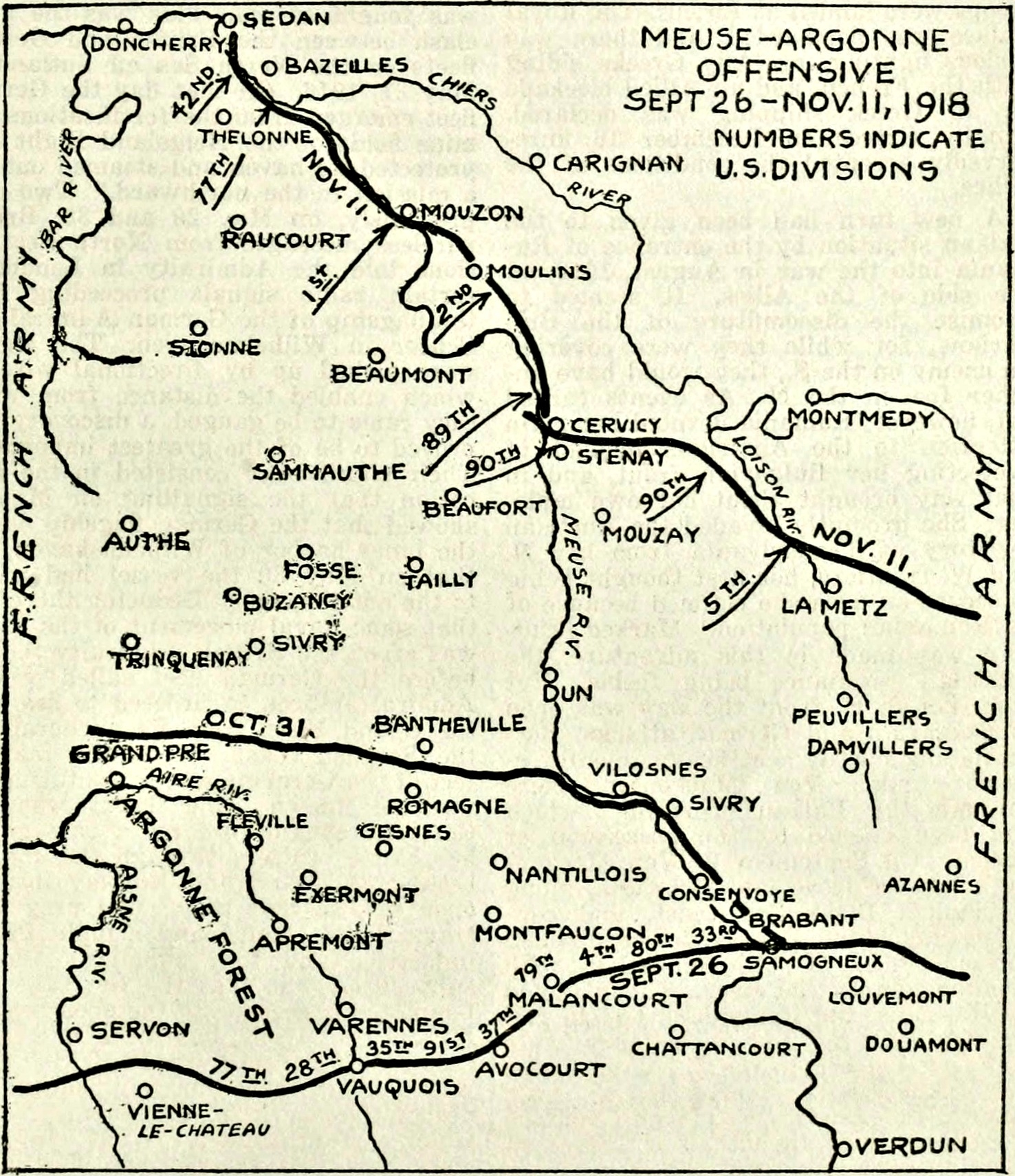 "In early October 1918, the Allied forces including the ""Lost Battalion's 77th Division, attacked the wide German defensive line."