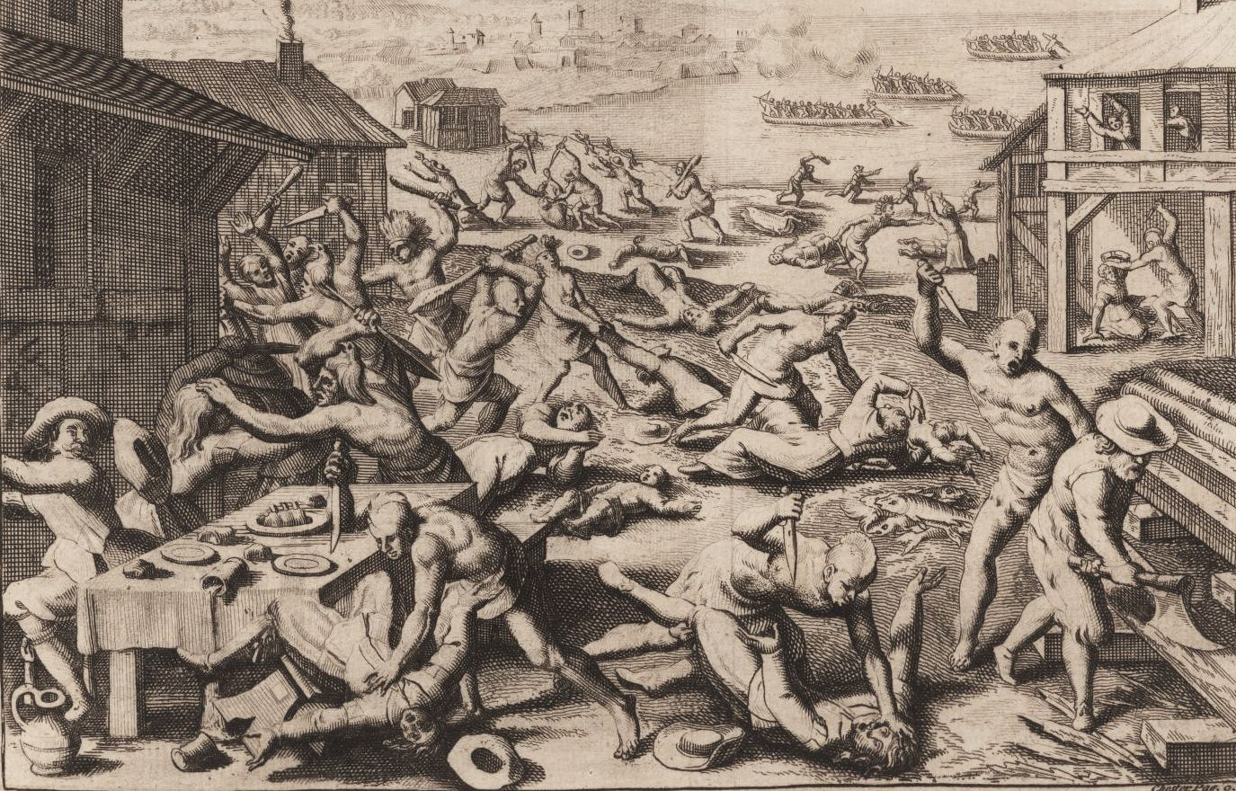 Theodor de Bry engraved a dramatic scene of Powhatan warriors attacking the Virigina settlement in 1622 while its inhabitants dine and work. Chief Opechancanough and his men entered Jamestown and once inside they massacred 347 English men and women. ©John Carter Brown Library, Providence, RI.