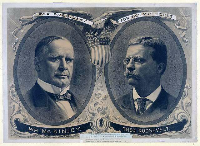 In 1900 McKinley was reelected President by a wide margin. After his first Vice President, Garret Hobart, died in 1899, the young governor of New York, Theodore Roosevelt was nominated to join McKinley on the ticket.