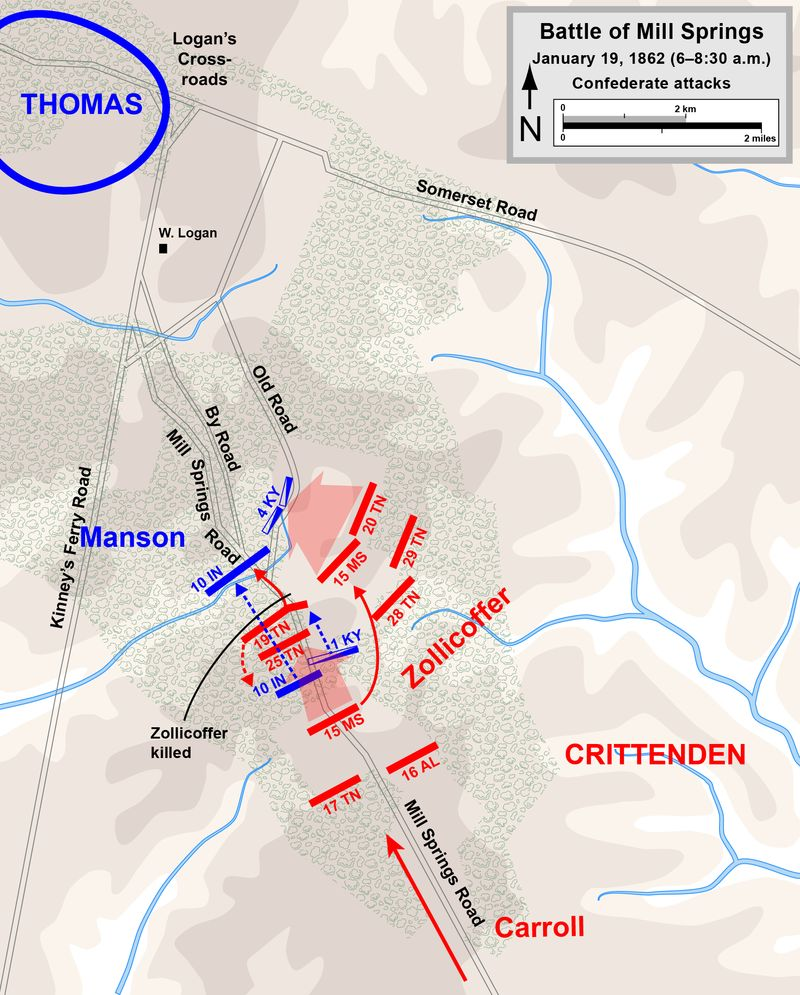 The Confederates launched an attack against the Union forces early in the morning of January 19, 1862.  Map drawn by Hal Jespersen.