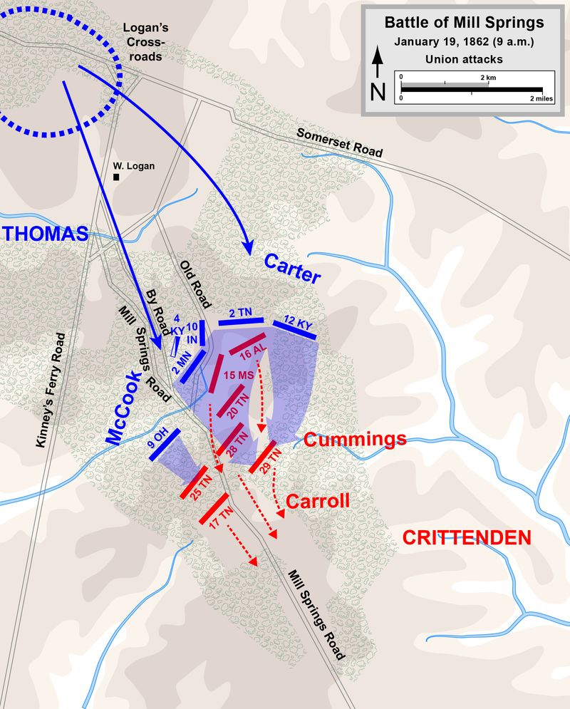The Confederates were forced to retreat in the face of Union counterattacks, resulting in the first Union victory of the War.