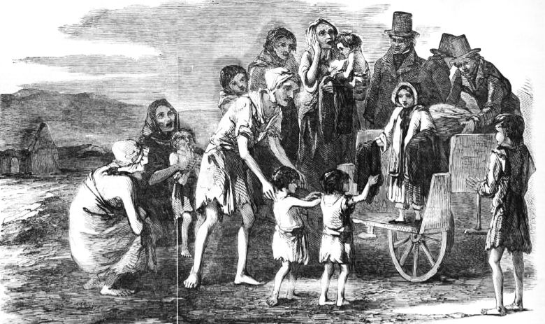 An engraving in the Illustrated London News in 1849 showed the young daughter of Captain Kennedy, the Poor-law Inspector of the Kilrush Union, helping to distribute clothing to the poor children.