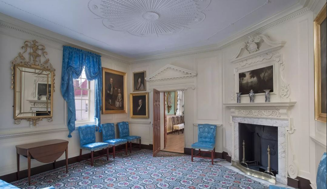 The West Parlor at Mount Vernon has recently been totally renovated and restored.