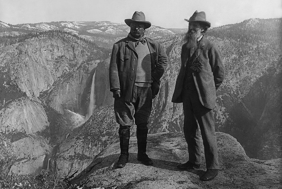 "Roosevelt famously hiked with John Muir, founder of the Sierra Club, in Yosemite. """"Here is your country. Cherish these natural wonders, cherish the natural resources, cherish the history and romance as a sacred heritage, for your children and your children's children,"" he wrote."