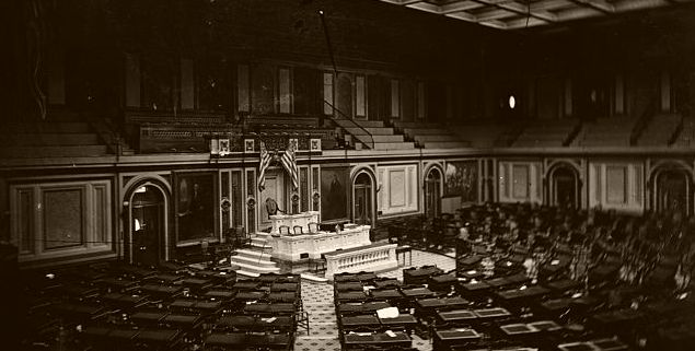 The earliest photograph of the House of Representatives shows how it appeared in 1861. Brady-Handy Collection, Library of Congress.