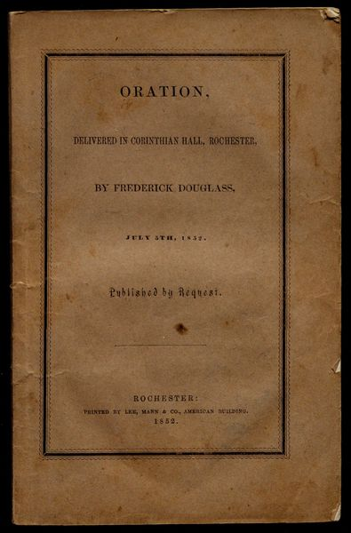 Douglass's oration was reprinted and widely read. Gilder-Lehrman Institute.