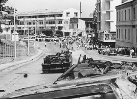 Panamanians gather in the streets after the riots in 1964.