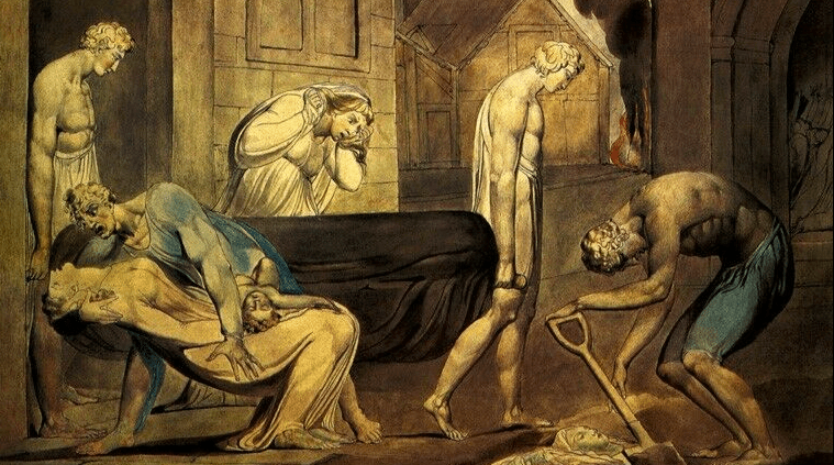 William Blake drew a series of scenes of plague and pestilence in the 1790s. Bristol Museums