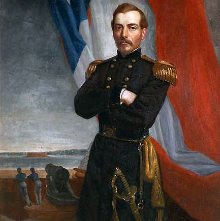 The portrait of Gen. P.T. Beauregard shows Confederate troops firing on Fort Sumter, starting the Civil War.