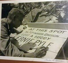 Pvt Spencer painted the sign where Pyle died.