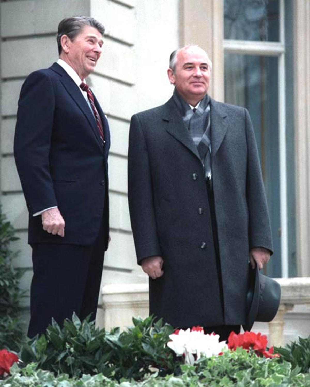President Ronald Reagan smiles during his first meeting with Mikhail Gorbachev at Fleur D'Eau during the Geneva Summit in Switzerland on Nov. 19,1985. Photo courtesy of Wikimedia Commons