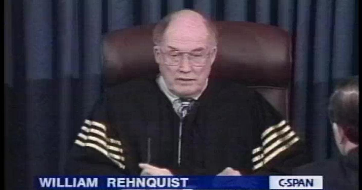 Chief Justice William Rehnquist presided over the impeachment process dressed in an unusual robe.
