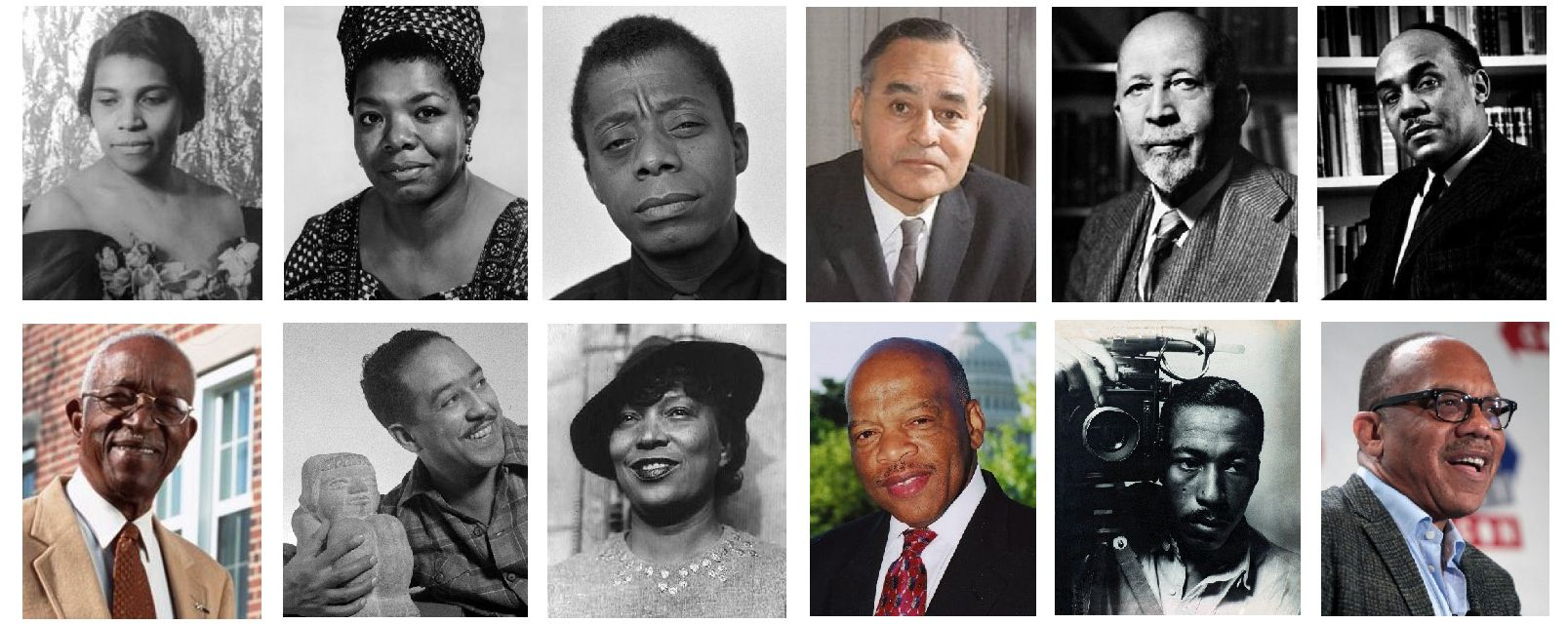 Rosenwald schools and fellowships helped educate an extraordinary group of intellectuals and artists including (top row) singer Marian Anderson, poet Maya Aangelou, novelist James Bbaldwin, diplomat Ralph Bunche, Dubois, Ralph Ellison and (bottom row), scholar John Hope Franklin, poet Langston Hughes, Zora Neale Hurston, John L. Lewis, photographer Gordon Parks, and Pulitzer Prize winning journalist Eugene Robinson.