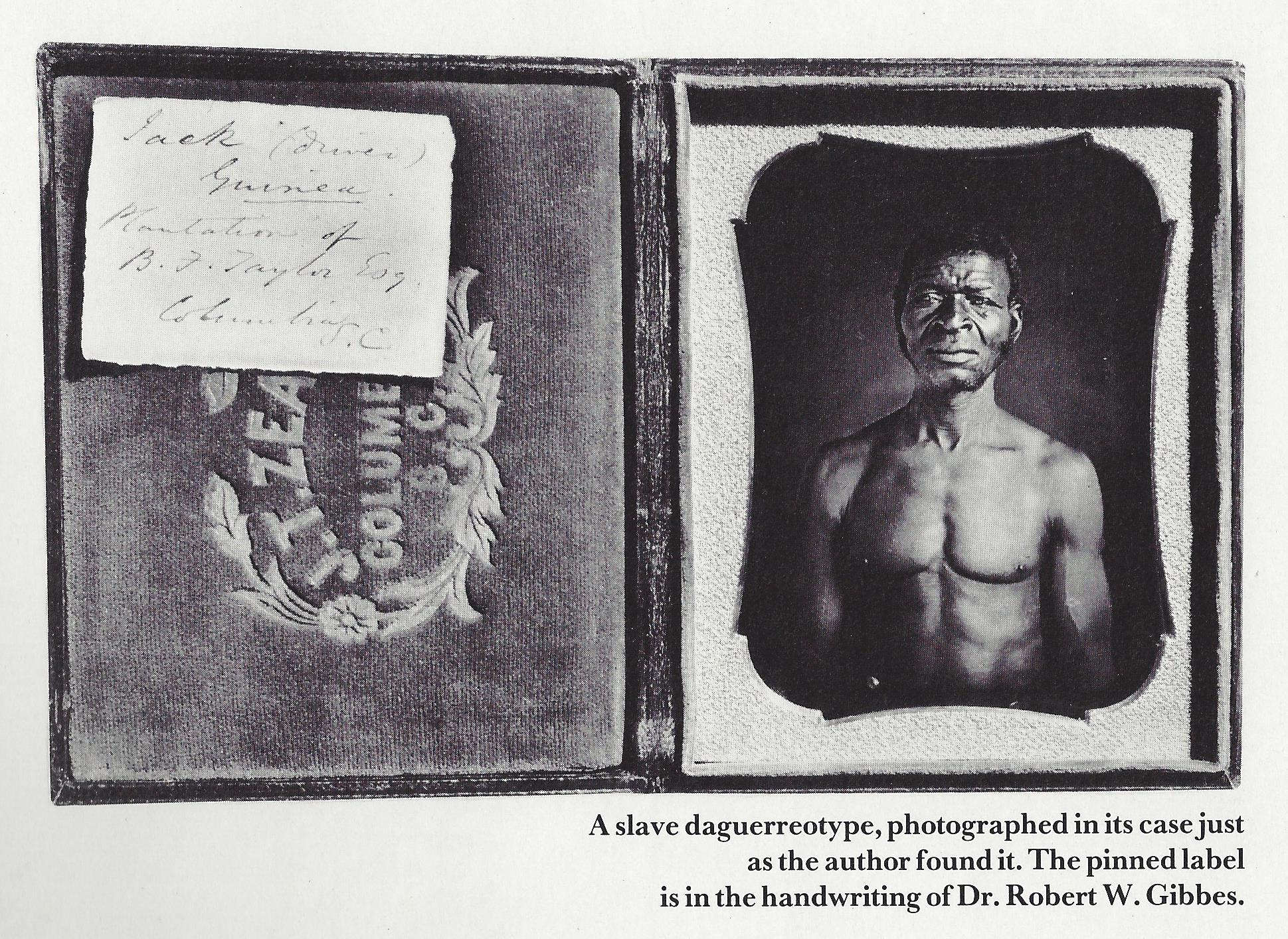 A slave daguerrotype, photographedin its case just as the author found it. The pinned label is in the handwriting of Dr. Robert W. Gibbes.
