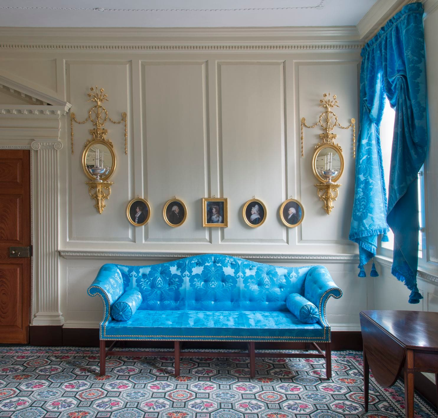 "Where George met Sally?  In 1774, the Washingtons purchased a sofa and eight chairs covered with ""Saxon blue"" from their neighbors, Lord Fairfax and his beautiful wife Sally, who had been an early love interest of young Col. Washington."
