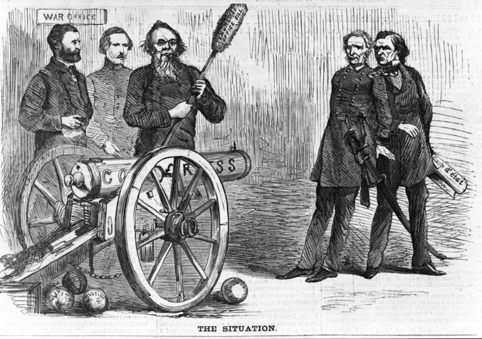 "An engraving from 1868 showed Stanton and Ulysses S. Grant near a cannon labelled ""CONGRESS"" aimed at President Johnson (right). Library of Congress."