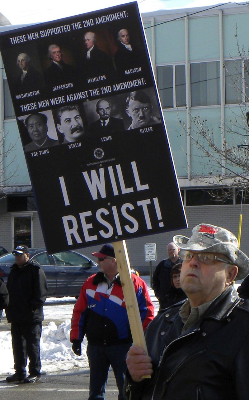 A protester makes his feelings known at a pro-gun rally in Minneapolis.