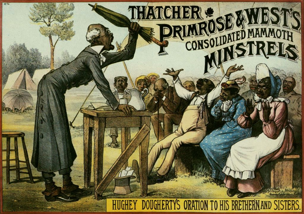 Not even religion was off-limits to minstrel performances. Hughey Dougherty played another stock character, the elderly preacher haranguing his enthusiastic flock, mispronouncing big words and parading misinformation. Cincinnati Historical Society.