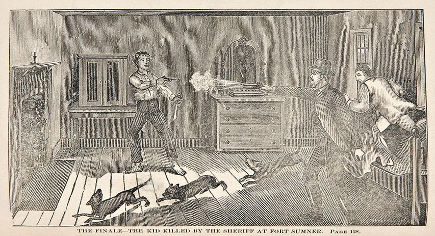 An engraving in Pat Garrett's book about Billy the Kid showed the sheriff shooting the outlaw.
