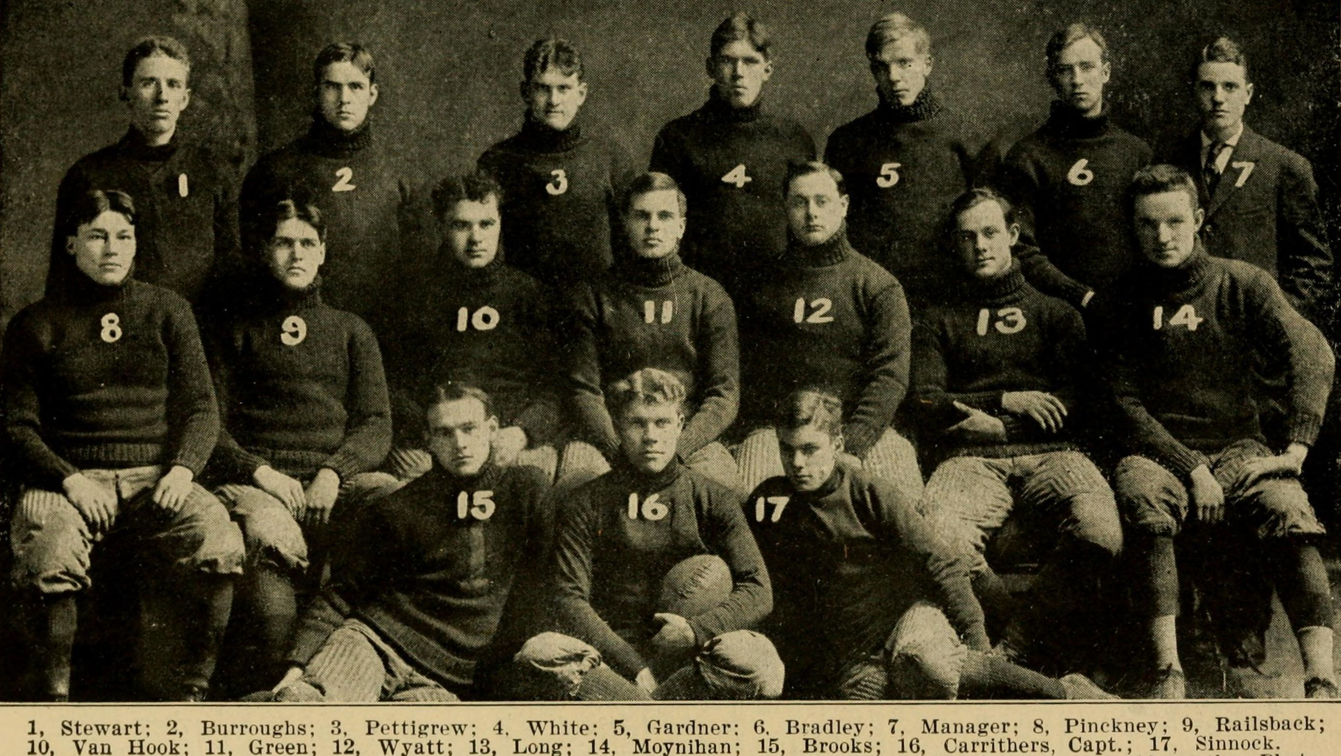 In 1907 the newly formed NCAA published its first rule book for football, which included a portrait of the University of Illinois football team.