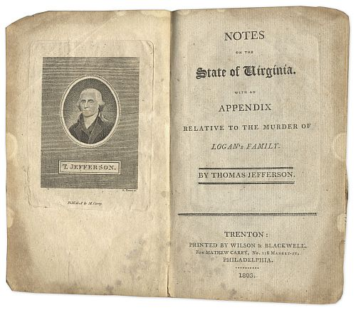 Thomas Jefferson's ''Notes on The State of Virginia'' published in 1803