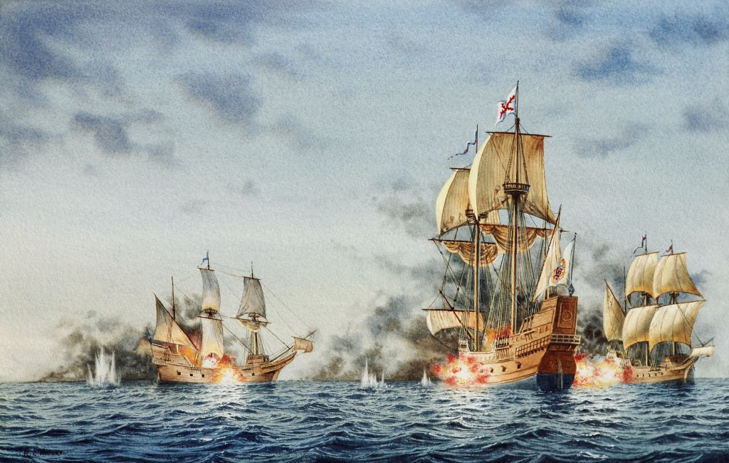 Two English privateers, Treasurer (left) and White Lion (right) captured the larger Spanish ship San Juan Bautista and took her enslaved Africans to Virginia to sell. Painting by Richard C. Moore, courtesy of Jamestown Rediscovery.