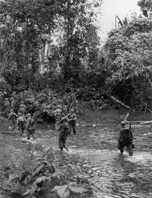 Troops of the 32nd Infantry Division near Saidor.