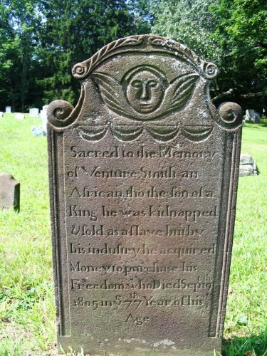 The tombstone of Venture Smith, who was abducted into slavery and bought freedom for himself and his family.