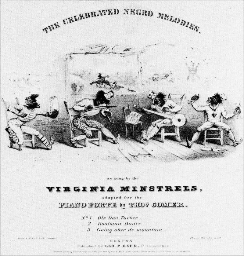The Virginia Minstrels, caricatured here in an 1843 song sheet, were the first true minstrel company. Harvard Theatre Collection.