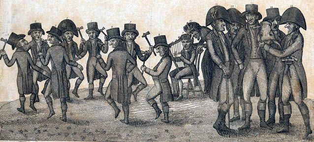 "The Federalist-supporting publisher Alexander Hanson inflamed supporters of the War of 1812 with editorials and cartoons such as ""The War Dance at Montgomery Court House."" National Park Service (original in the Maryland Historical Society.)"