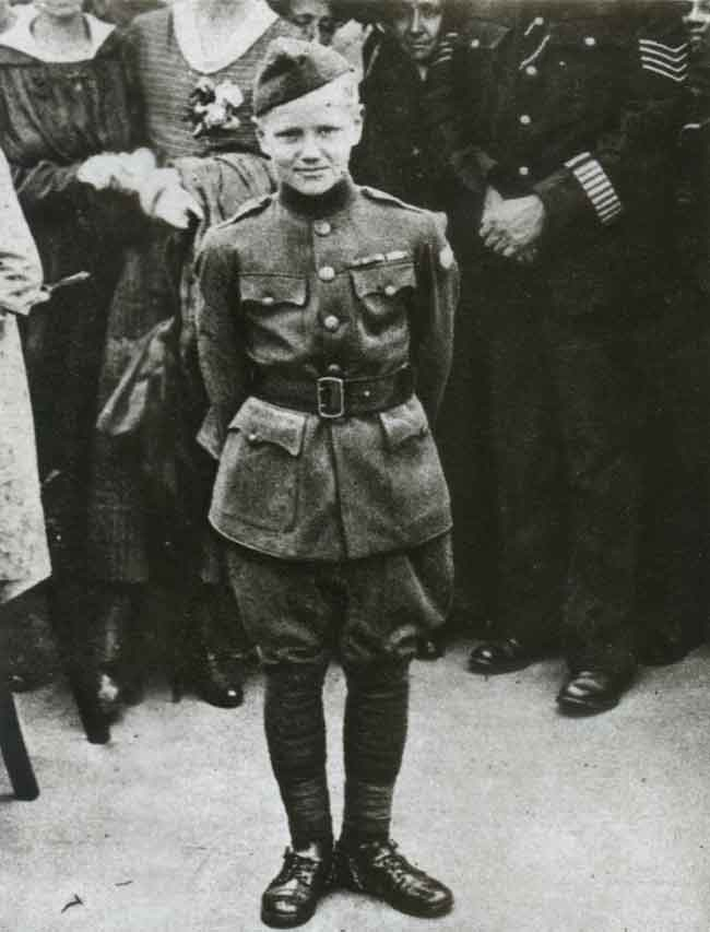 "Gen. Pershing's son Warren dressed up in a soldier's uniform and was called ""the youngest doughboy"" by the press."