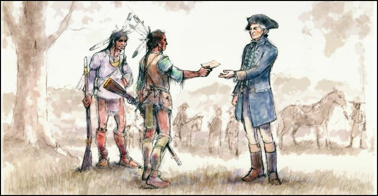 Washington met with representatives of the Oneida tribe while touring upstate New York in 1783 after the Revolution. The Oneidas were the first nation to sign a treaty as an ally of the United States. Courtesy Oneida Nation.